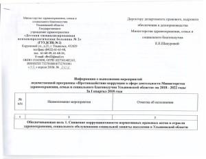 Информация о выполнении ведомственной программы
